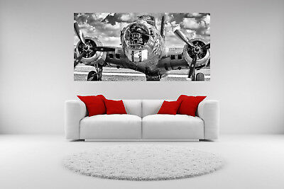 B-17 Airplane Canvas Giclee Print Vintage Picture Unframed Home Decor Wall Art
