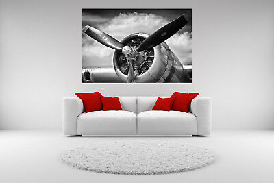 B-17 Propeller Canvas Giclee Print Vintage Picture Unframed Home Decor Wall Art