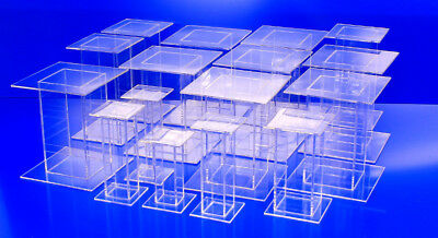 16 Lot Clear Acrylic Pedestal Display Risers Mixed Sizes 5.5x5.5x8 to 4x4x5