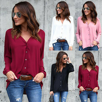 US Women's Ladies Summer Long Sleeve Shirt Loose Casual Blouse Tops T-Shirt