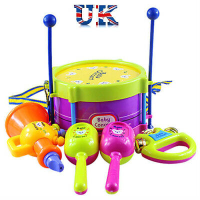5Pcs/Set Baby Boy Girl Drum Musical Instruments Drum Set Children Toys UK