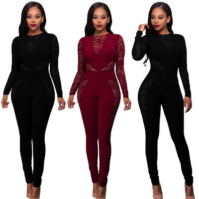 Women Lady Club wear Long Sleeve Play suit Bodycon Party Jumpsuit Long Romper US