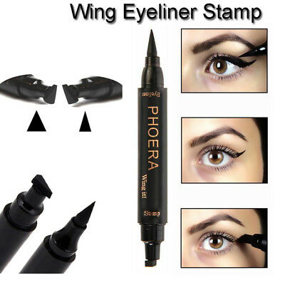 PHOERA 2 in 1 Wing Stamp Waterproof Long Lasting Shimmer Liquid Eyeliner Worthy