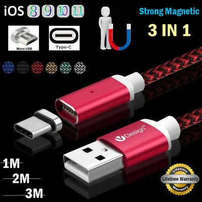 1M/2M/3M 3IN1 Braided Magnetic Type C/IOS/Micro USB Quick Charger Transfer Cable