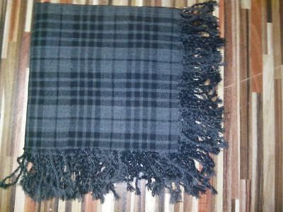 Tartan Scottish Purled Fringe Budget Piper Fly Plaid Kilt Grey Wash Tartan