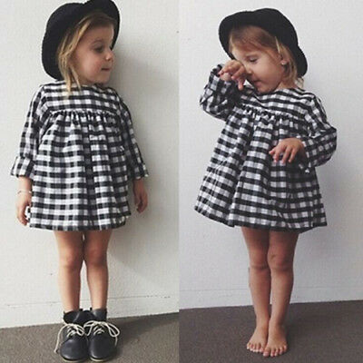 Toddler Kids Baby Girls Plaid Long Sleeve Dinosaur Casual Dress Outfits Clothes