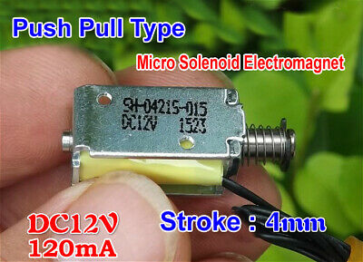 DC 12V Push Pull Type Rod Solenoid Electromagnet DC Micro Solenoid Stroke 4mm