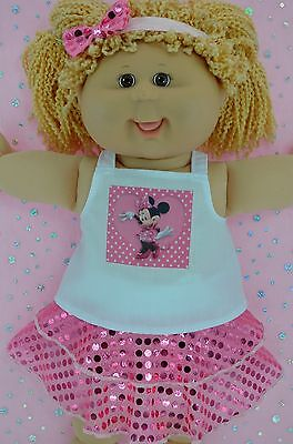 """Play n Wear Doll Clothes For 16"""" Cabbage Patch PINK SEQUIN SKIRT~TOP~HEADBAND"""