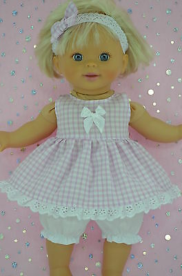 "Play n Wear Doll Clothes For 13"" Little Mommy GINGHAM DRESS~BLOOMERS~HEADBAND"