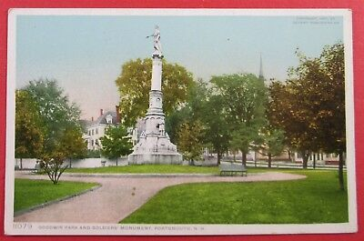 Goodwin Park And Soldiers Monument, Portsmouth, NH Postcard (#4556)