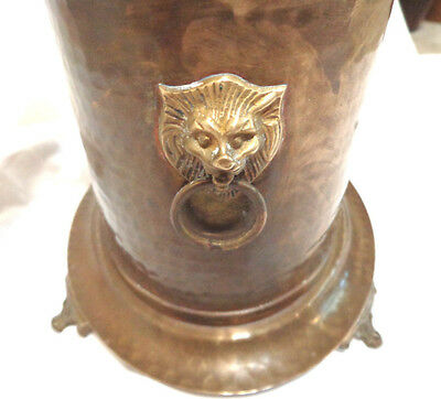 antique solid Brass,footed container,hinged lid ,with Lion head rings, 9'' x 9''