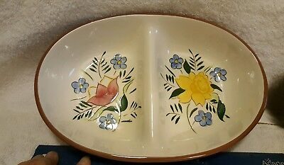 STANGL antique country garden divided bowl, mint