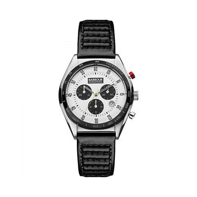 Reloj Watch Barbour Boswell Silver Chronograph BB025WHBK Hombre Men Piel Leather