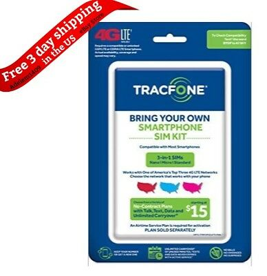 TracFone Bring Your Own Phone SIM 4GE LTE Activation Kit Triple Punch Micro Nano