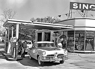 1955 Dodge Cornet Filling Up at Texas Sinclair Station 8 x 10 photograph