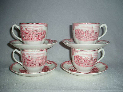 4 Johnson Brothers China OLD BRITAIN CASTLES Pink Red FLAT Cups & Saucers