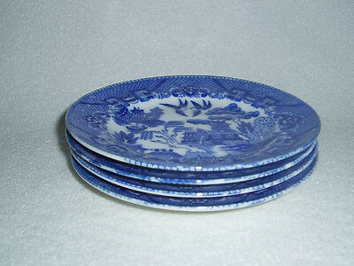 Vintage Japanese Blue Willow Plates Large Children's Child's Toy Dishes Set of 4