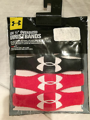 "SET of TWO NIP UNDER ARMOUR 1/2"" Oversized Wristbands, Black, Red, Unisex, F/S"