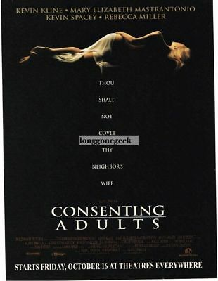 1992 CONSENTING ADULTS Vintage Movie Promo Print Ad