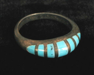 VINTAGE STERLING SILVER W TURQUOISE INLAY BEAUTIFUL CRESCENT SHAPE 925 size 8.5