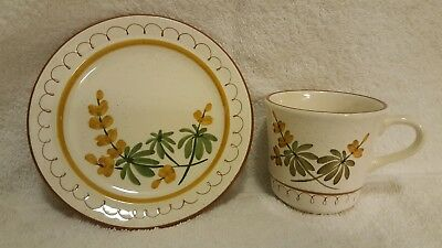 """STANGL vintage Golden Blossom coffee cup & 6"""" dessert plate in mint shape"""