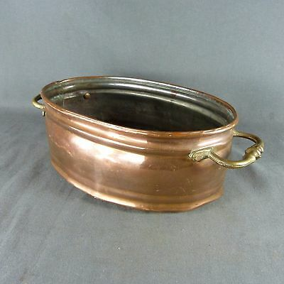 French Antique Copper Table Planter Pot Brass Handles Decorative Item