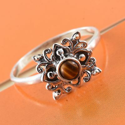South African Tigers Eye Sterling Silver Ring (sz 9) 0.28 cts
