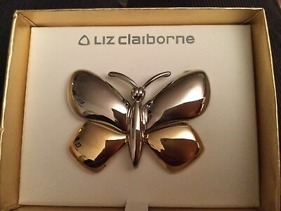 Liz Claiborne Silver Gold Butterfly Brooch Pin Original Box Antique Vintage NICE