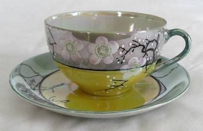 Vintage TAKITO Japan Opalescent YELLOW Green CHERRY Blossoms Tea CUP & SAUCER