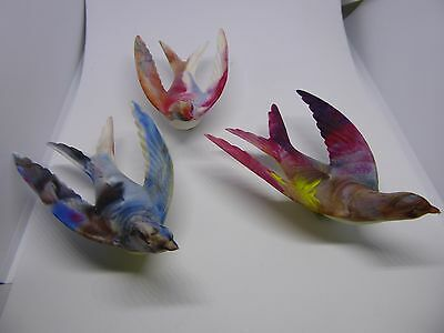 """3 Vintage Multi Colored plastic Bird clips made in France - Birds Christmas 4"""""""