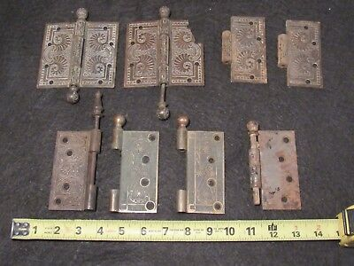 Lot of Antique Highly Decorative Eastlake Door Hinges and Parts L1
