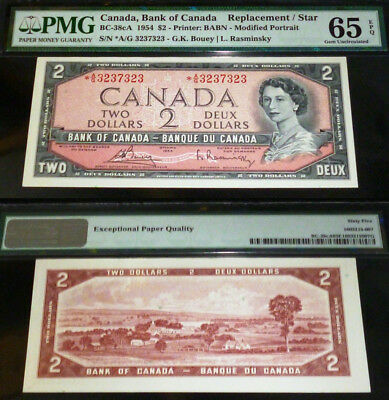 Radar / Repeater - Replacement /star Bank Of Canada 1954 $2 *a/g Pmg 65 Epq