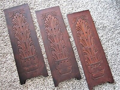 3 Embossed Plant Holder Pot Furniture Panels Carved Victorian Wood Wall Plaques