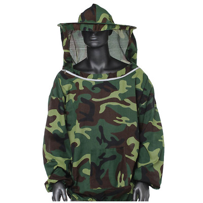 Unisex Bee Protection Jacket Beekeepers Clothing Hat Veil Hooded Camouflage Coat