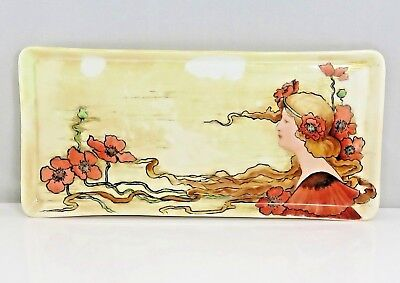 Old Antique French Art Nouveau Hand Painted Tray Plate 12 In.