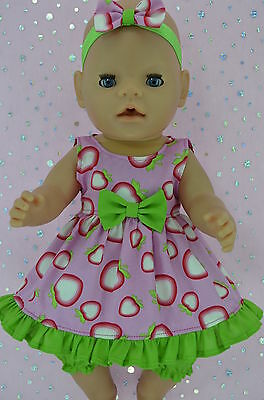 "Play n Wear Doll Clothes To Fit 17"" Baby Born STRAWBERRY DRESS~BLOOMERS~HEADBAND"