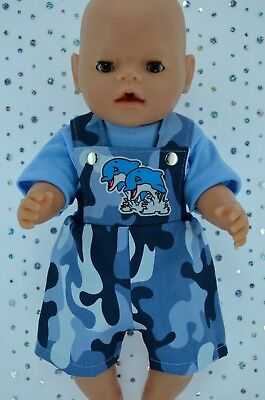 "Play n Wear Doll Clothes To Fit 17"" Baby Born CAMOUFLAGE BIB DUNGAREE~T-SHIRT"