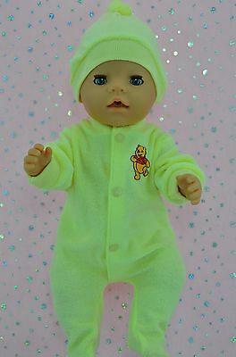 "Play n Wear Doll Clothes For 17"" Baby Born LEMON TOWELLING STRETCH AND GROW~HAT"