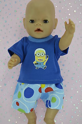 "Play n Wear Doll Clothes To Fit 17"" Baby Born SPOT SHORTS~T-SHIRT"