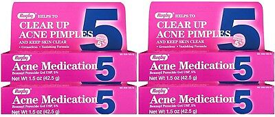 Benzoyl Peroxide 5 % Maximum Strength Acne Medication Gel 1.5 oz each 4 PACK