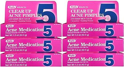 Benzoyl Peroxide 5 % Maximum Strength Acne Medication Gel 1.5 oz each 6 PACK