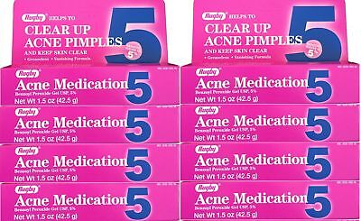 Benzoyl Peroxide 5 % Maximum Strength Acne Medication Gel 1.5 oz each 8 PACK