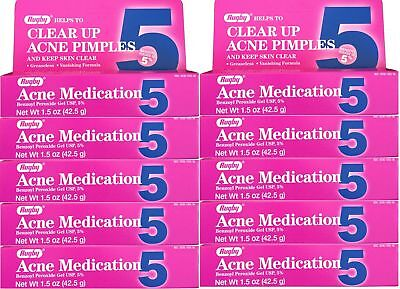 Benzoyl Peroxide 5 % Maximum Strength Acne Medication Gel 1.5 oz each 10 PACK