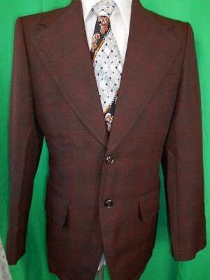 """Vintage 1960s 70s Brown Red Plaid Polyester Sports Jacket Blazer 38"""" Anchor Man"""