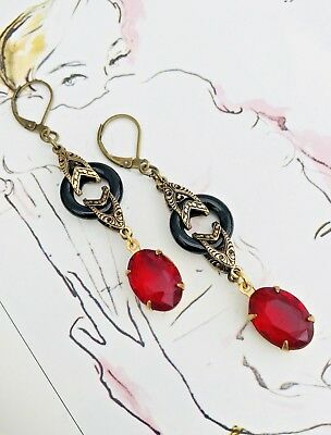 Art Deco  Art Nouveau  Bridal  Red And Black Onyx Earrings