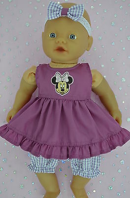 "Play n Wear Doll Clothes For 13"" Little Baby Born/Mommy DRESS~BLOOMERS~HEADBAND"