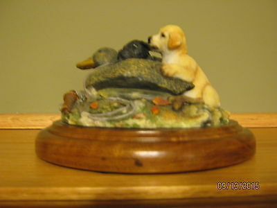 """Two Much"" by Millcreek Studios Sculpture #22070 Lab Puppies & Toy Decoy Duck"