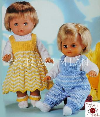 Vtg Knitting Pattern DOLLS CLOTHES PREM BABY PINAFORE DRESS DUNGAREES Tiny Tears