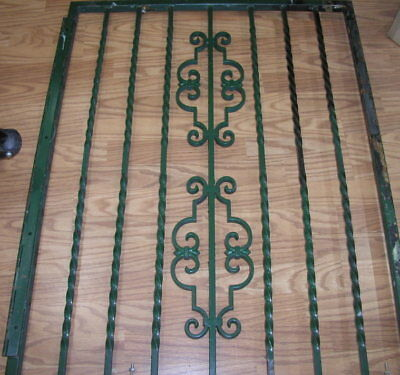 "Decorative Rectangular Vintage Antique Green  Wrought Iron Gate 32"" x 42"""