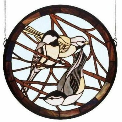Early Morning Visitors Medallion Stained Glass Window- Free Shipping